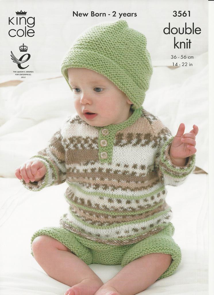 King Cole 4805 Knitting Pattern Sweater Cardigan /& Hat in Cherish /& Cherished DK