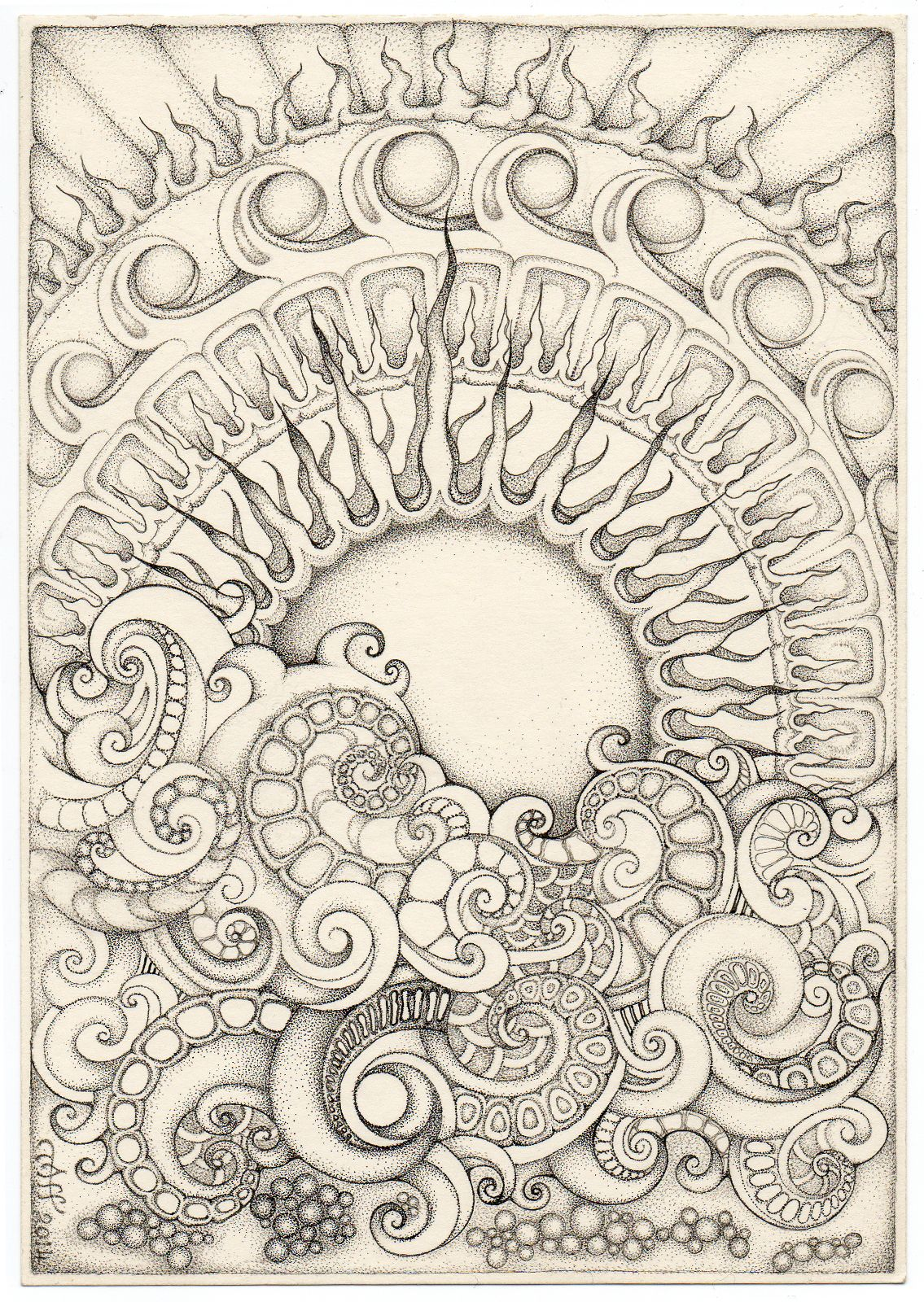 Mandala Sonnenaufgang Doodle Stift Kunst Feder Malerei Und Kunst