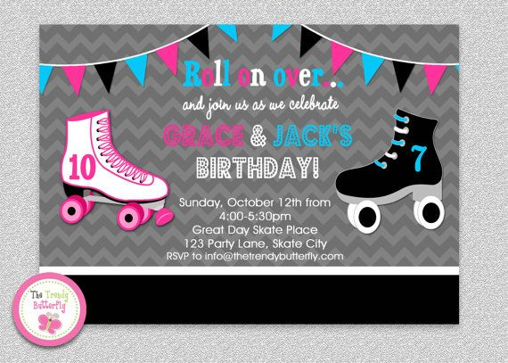 Siblings Roller Skating Birthday Invitation By Thetrendybutterfly