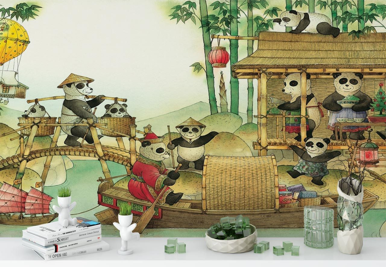 Panda village nursery wall art mural removable non woven panda panda village nursery wall art mural removable non woven panda theme wallpaper peel and stick kids bedroom wall decal sticker amipublicfo Image collections