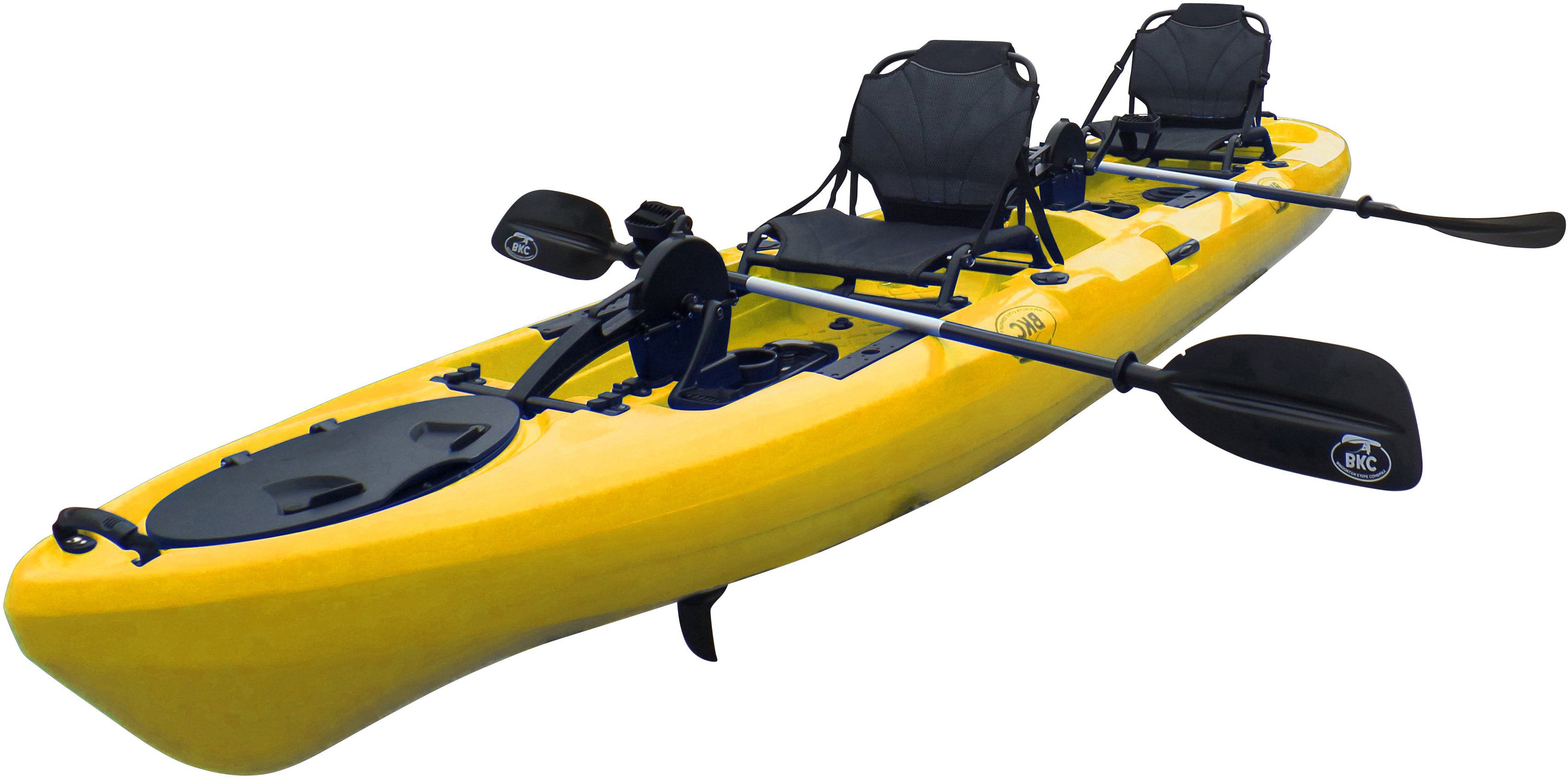 Bkc Pk14 14 Tandem Sit On Top Pedal Drive Kayak W Rudder System And Instant Reverse 2 Paddles 2 Upright Back Support Aluminum Frame Seats 2 Person Foot Oper Pedal Kayak