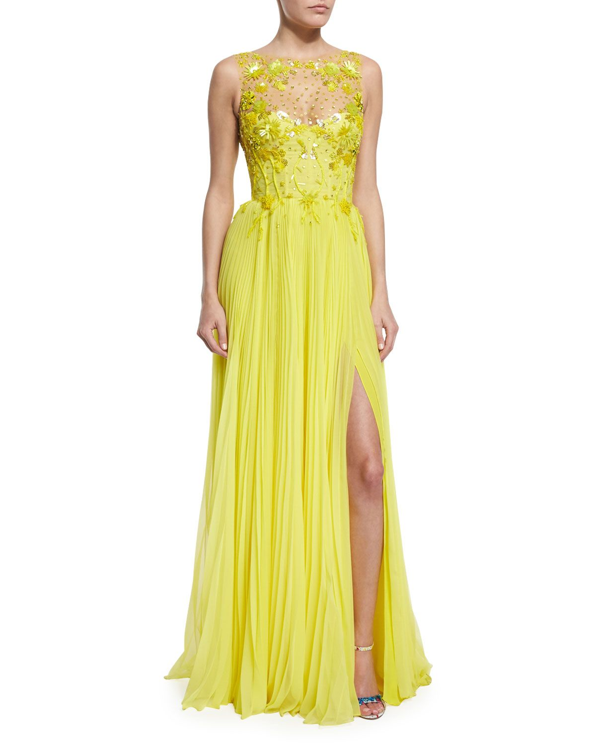 Monique Lhuillier Embroidered Tulle/Pleated Chiffon ...