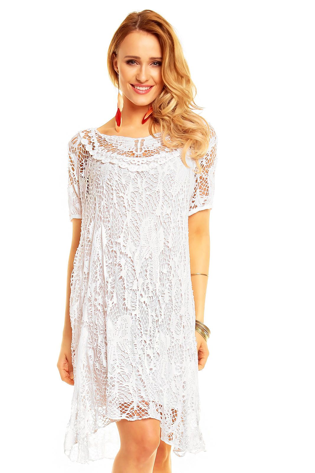 Details about Ladies Dress Long Tunic top Lagenlook Lace