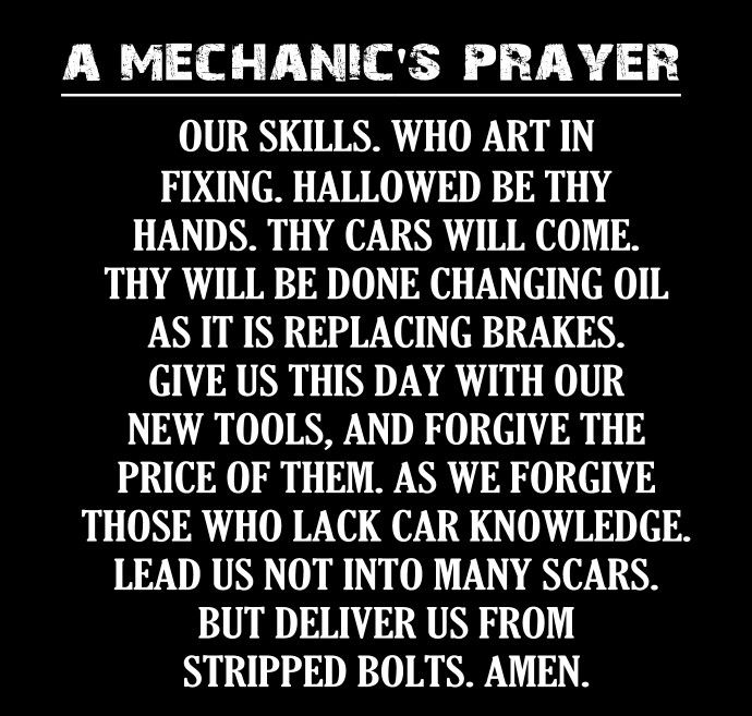 Mechanic Quotes Delectable A Mechanic's Prayer JokesQuotesPoems Pinterest Door Quotes