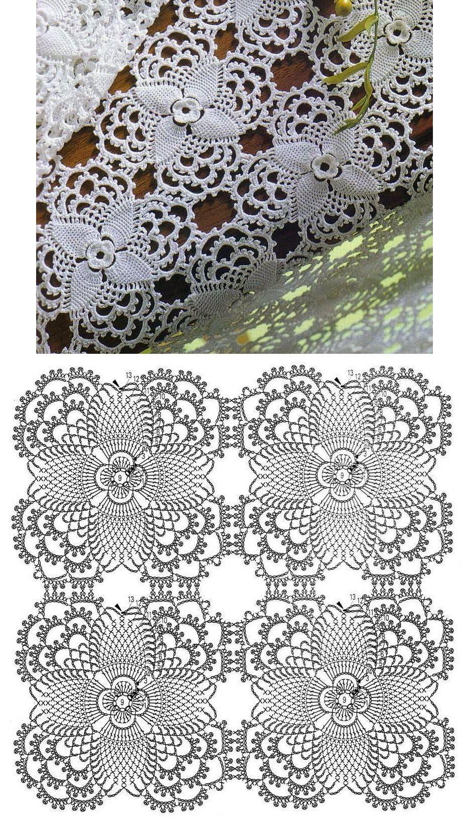 Квадратный мотив с цветком крючком схема фото 140
