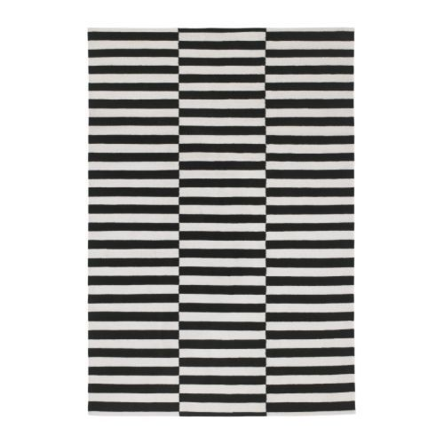 Ikea Stockholm Rand Area Rug Black White Stripe Wool Contemporary 5x8 8 11 New Ebay