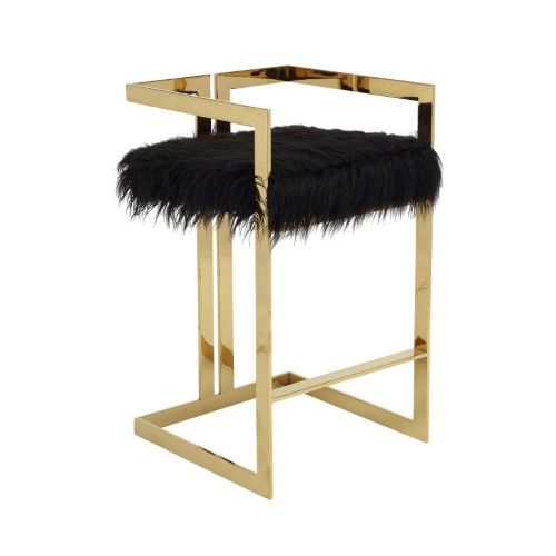 Pangea Home Kenzie Bar Stool Faux Fur White Products