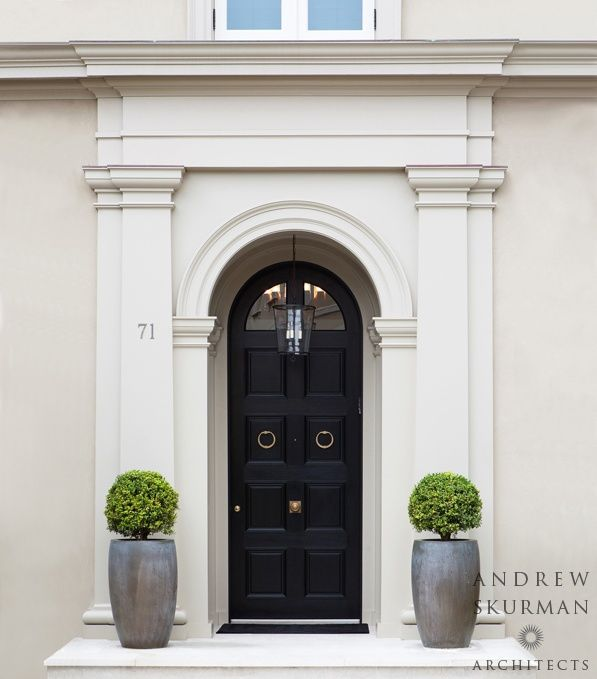 Traditional Front Door With Transom Window Exterior Tile Floors