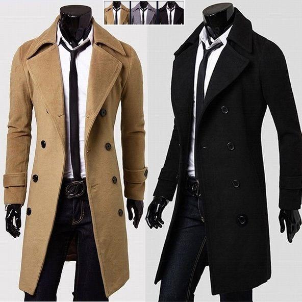 Long Pea Coat Men | Christmas | Pinterest | More Black trench ...