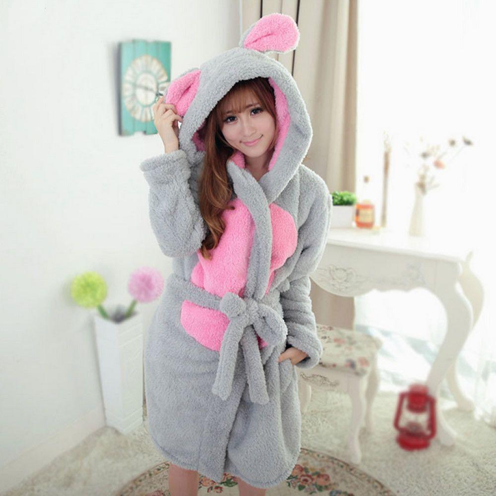 Women Warm Bathrobe Hooded Nightgown Cartoon Sleepwear Coral Velvet Homewear M//L