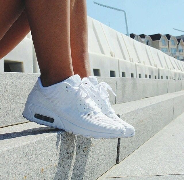 All white Nike air max 90's