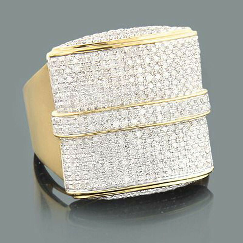 e466fea73dfbc 2.50 Ct D/VVS1 Diamond Iced Out Hip Hop Mens Ring in 14k Yellow Gold ...