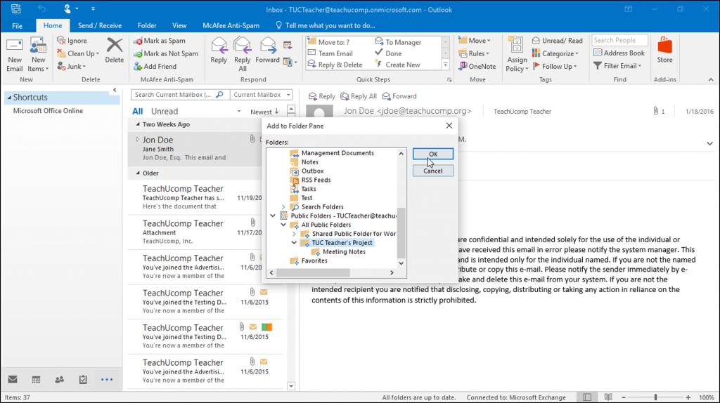 Create Folder Shortcuts In Outlook Instructions Teachucomp Inc Tutorial Folders Outlook
