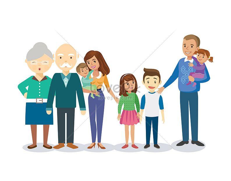 Perjalanan Keluarga Untuk Memotret Keluarga Vektor Keluarga Keluarga Bahagia Potret Keluarga Rumput Awan Grand Nenek Kartun Potret Keluarga Pemotretan