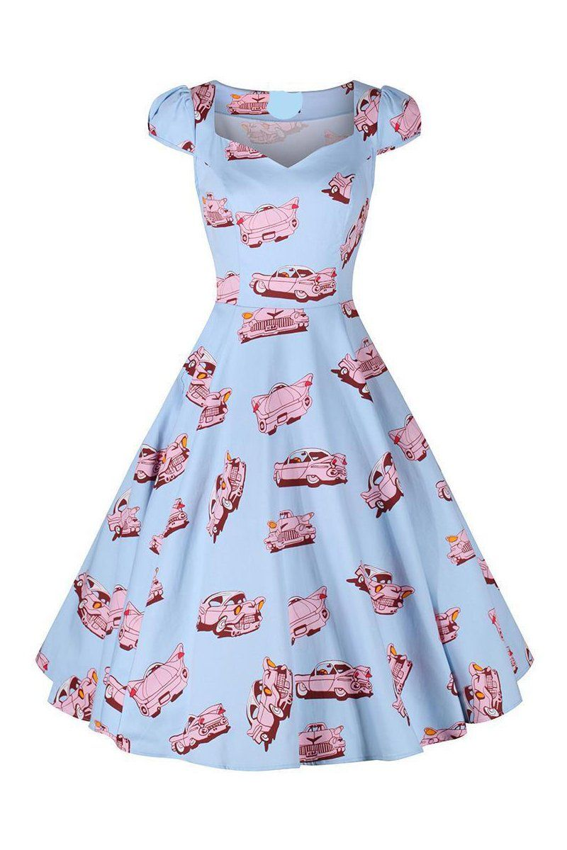 bc54fda1e665 Blue and Pink Vintage Car Print Rockabilly 50s Swing Dress | Vintage ...