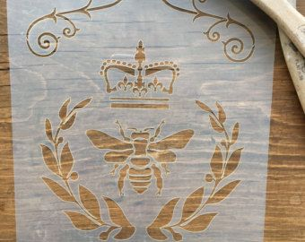 Damask Stencil Bee Crown Vintage French