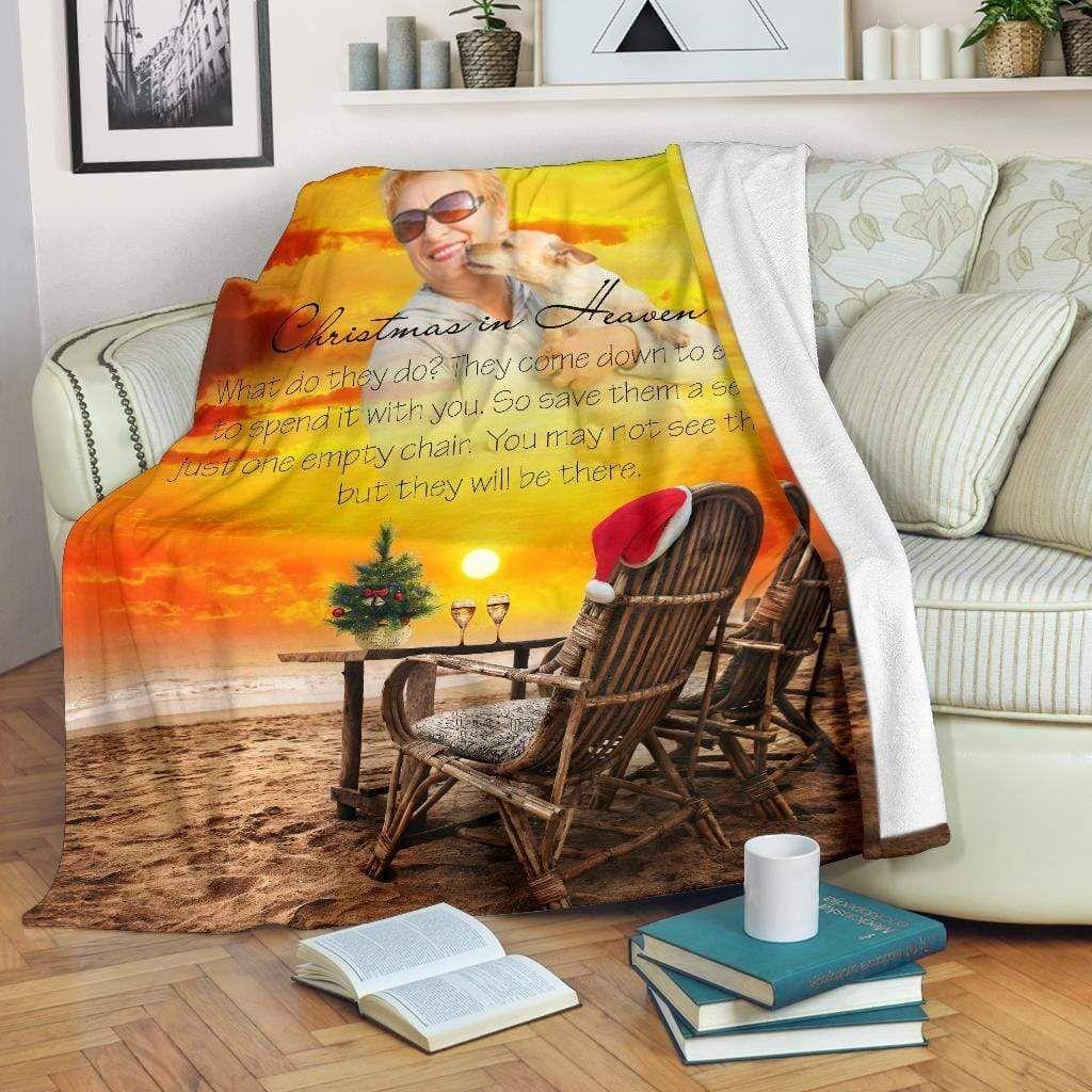 Christmas In Heaven - Sunset At The Beach Blanket - Medium Fleece Blanket (60x50)