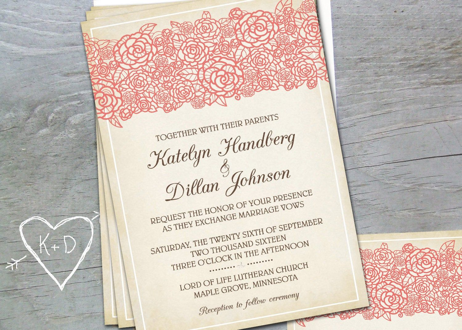 Lace Wedding Invitations Invites Rustic Country Lace