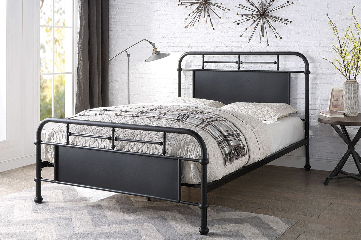 Keston Modern Black Metal Bed Frame Double King Size