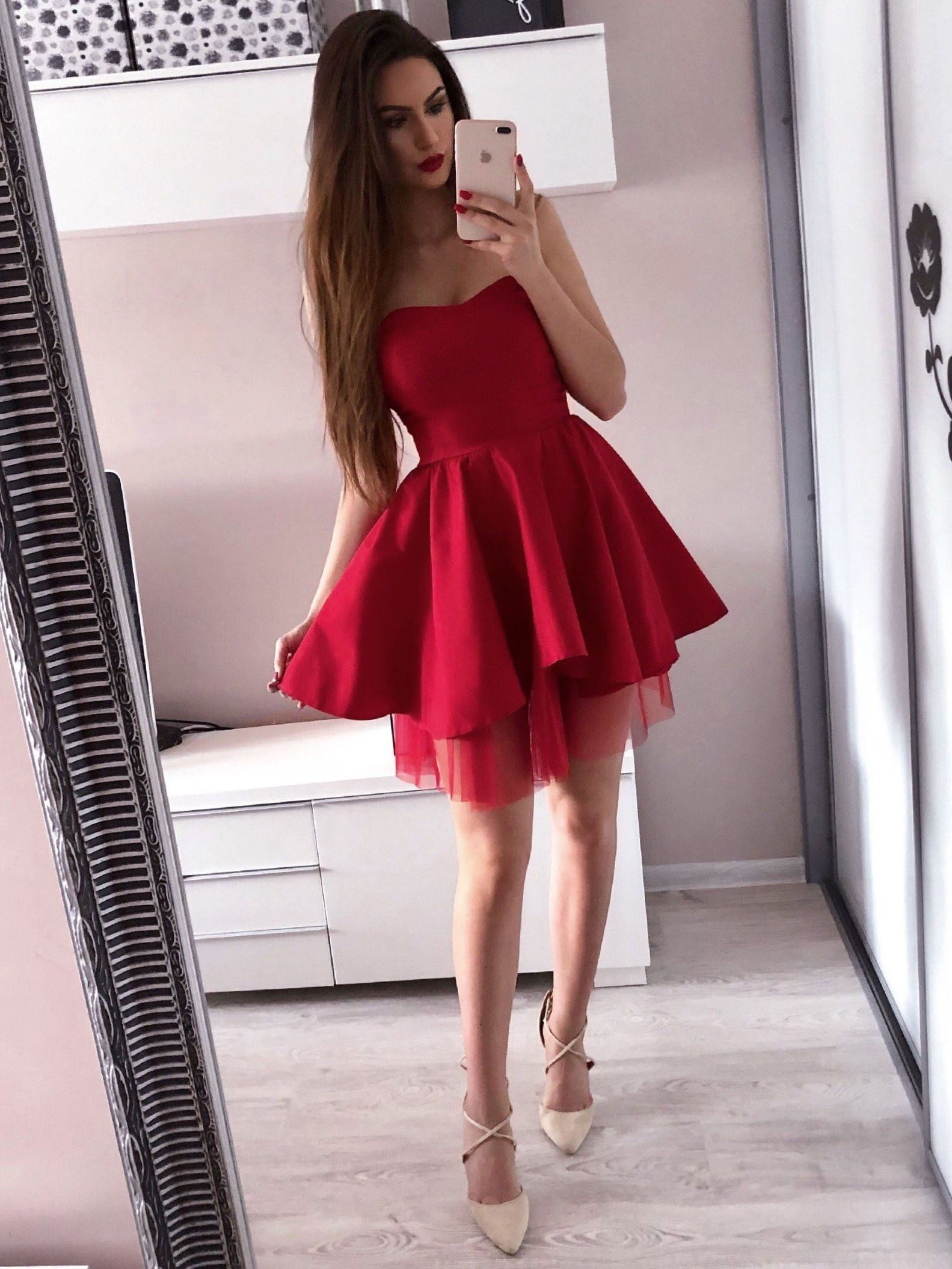 883dd5e984b Sweetheart Neck Red Mini Homecoming Dresses Simple Short Prom Dress ARD1732