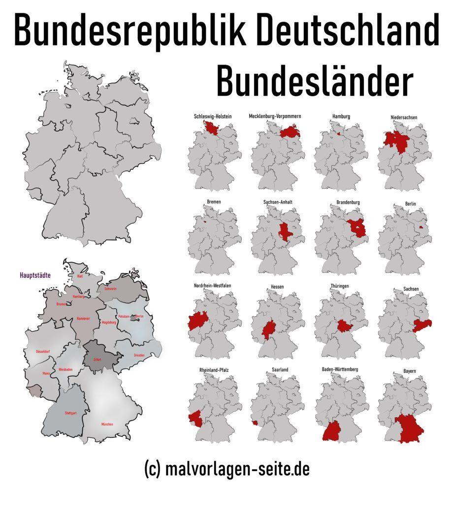 Wie Heissen Die 16 Bundeslander Von Deutschland Und Die Hauptstadte Hessen Karte Bundesland Deutschland