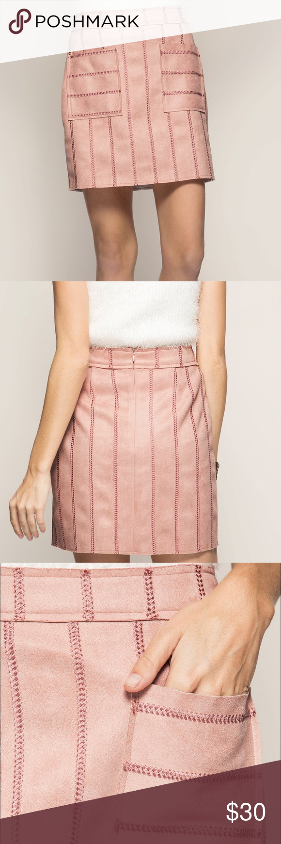 Faux suede mink skirt with front pocket Faux suede mink skirt with front pocket Skirts Mini
