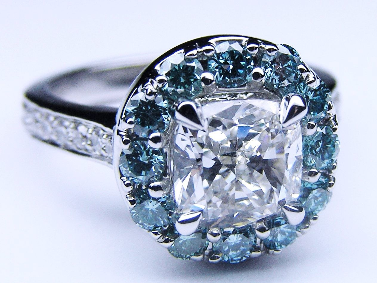Cushion Diamond Cathedral Engagement Ring Blue Diamonds