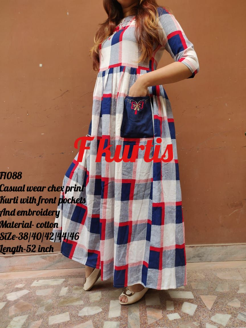 1d35f027514 Casual wear chex print Kurti with front pockets And embroidery Material-  cotton SiZe-38 40 42 44 46 Length-52 inch Price-950  - free ship Ready to  despatch ...