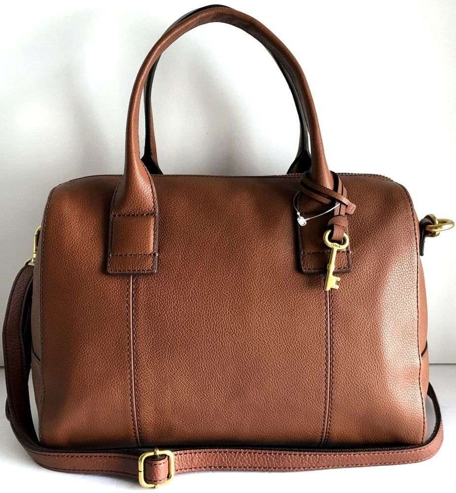 4eb511edf14a3 FOSSIL Jori Large Satchel Brown Pebbled Leather NEW Adj Crossbody Shoulder  Strap  Fossil  Satchel
