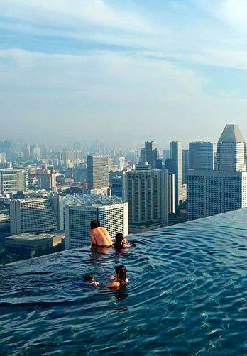 Marina Bay Sands In Singapore Swimming Pool On The Roof Sky