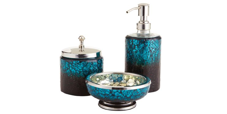 Peacock bathroom set peacock mosaic bath accessories by for Silver crackle bathroom accessories