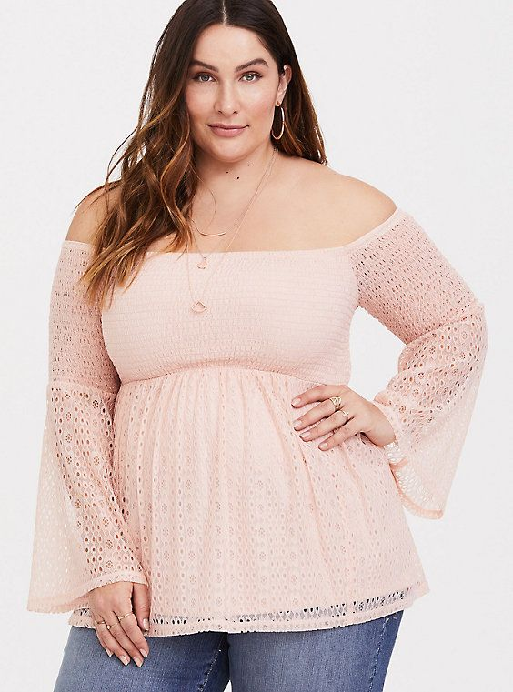 4071fd777dae Blush Smocked Off Shoulder Lace Top in 2019