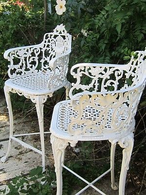 Vintage Victorian White Ornate Wrought Iron Chair Indoor Or