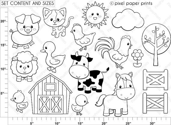 Farm Animals Digital Stamps Libros De Tela Animalitos Para