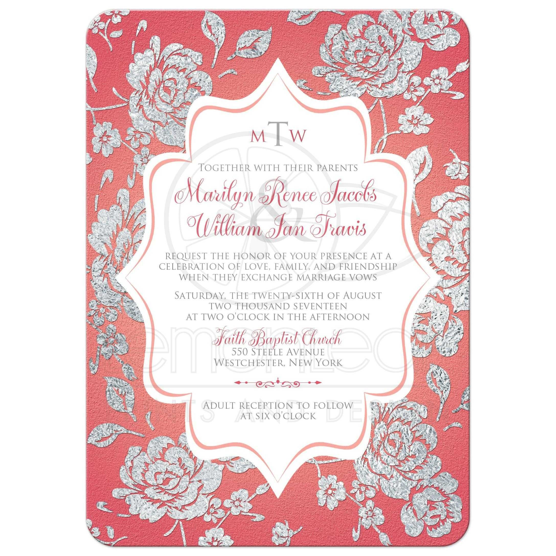Coral Pink Wedding Invitation Monogrammed Faux Silver Floral On