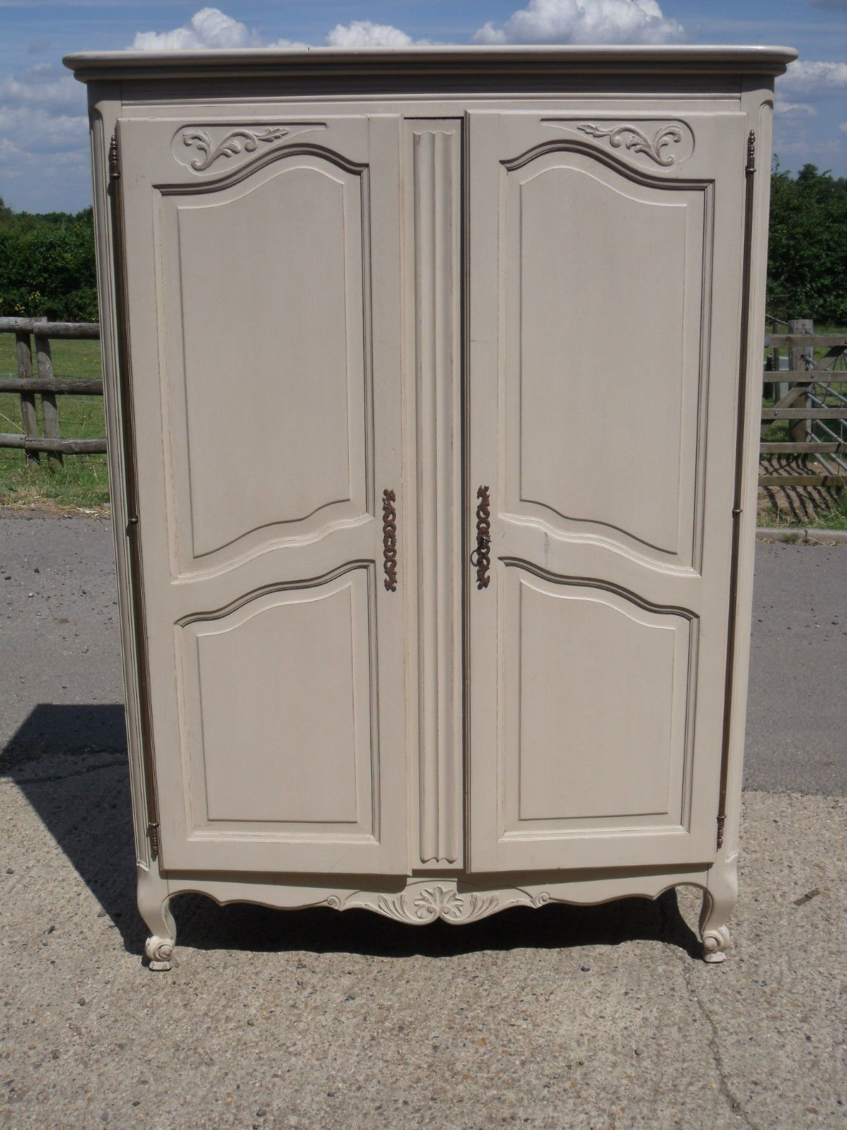 Vintage French Painted Pine Armoire Knock Down Wardrobe French Furniture