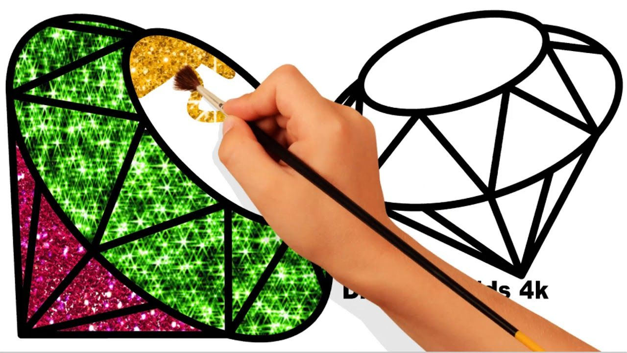 How to draw diamond coloring pages for kids draw diamond for kids