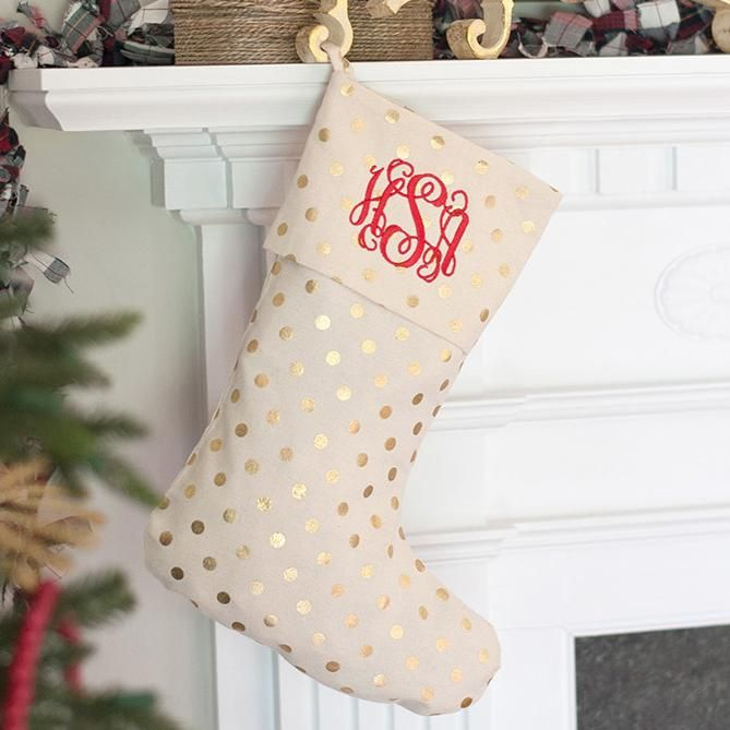 Classic Gold Dot Christmas Stocking Products Pinterest Gold