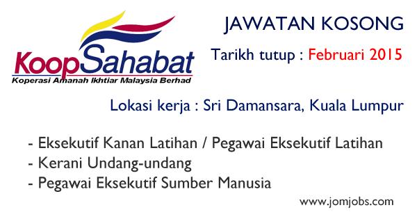 Jawatan Kosong Koperasi Amanah Ikhtiar Malaysia Berhad 2015 Kerjakosongkoopsahabat Jawatankosongkoperasi Malaysia