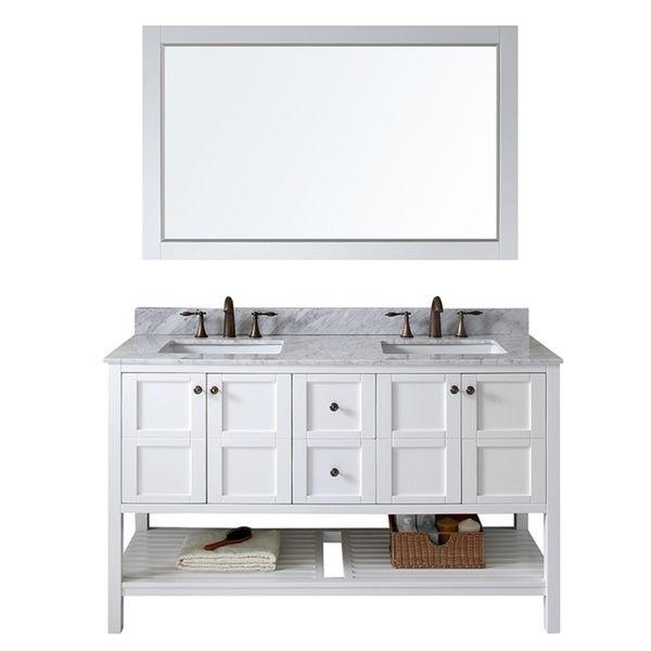 Virtu Usa Winterfell 60 Inch Double Sink White Vanity With Carrara