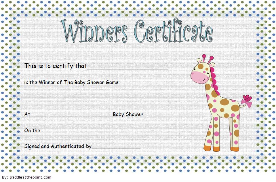 Baby Shower Winner Certificate Free Printable 1 Gift Certificate Template Baby Shower Games Unique Certificate Templates