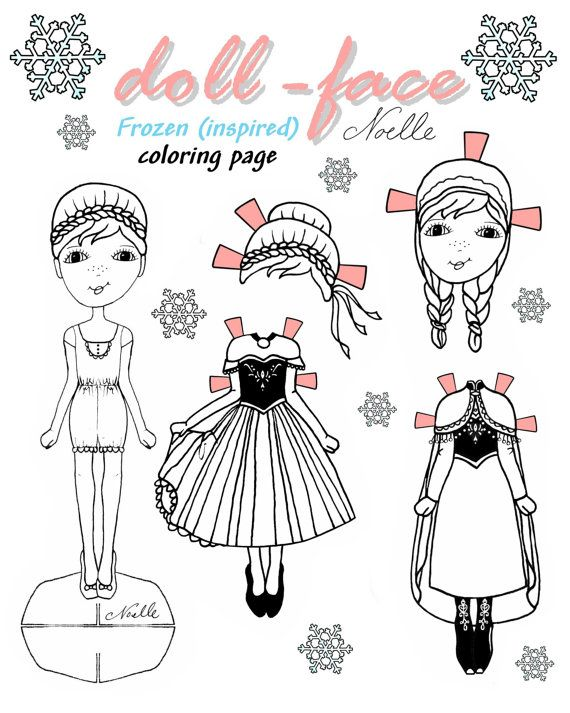 Disney S Frozen Inspired Doll Face Coloring Page Etsy Paper Dolls Paper Dolls Printable Frozen Paper Dolls