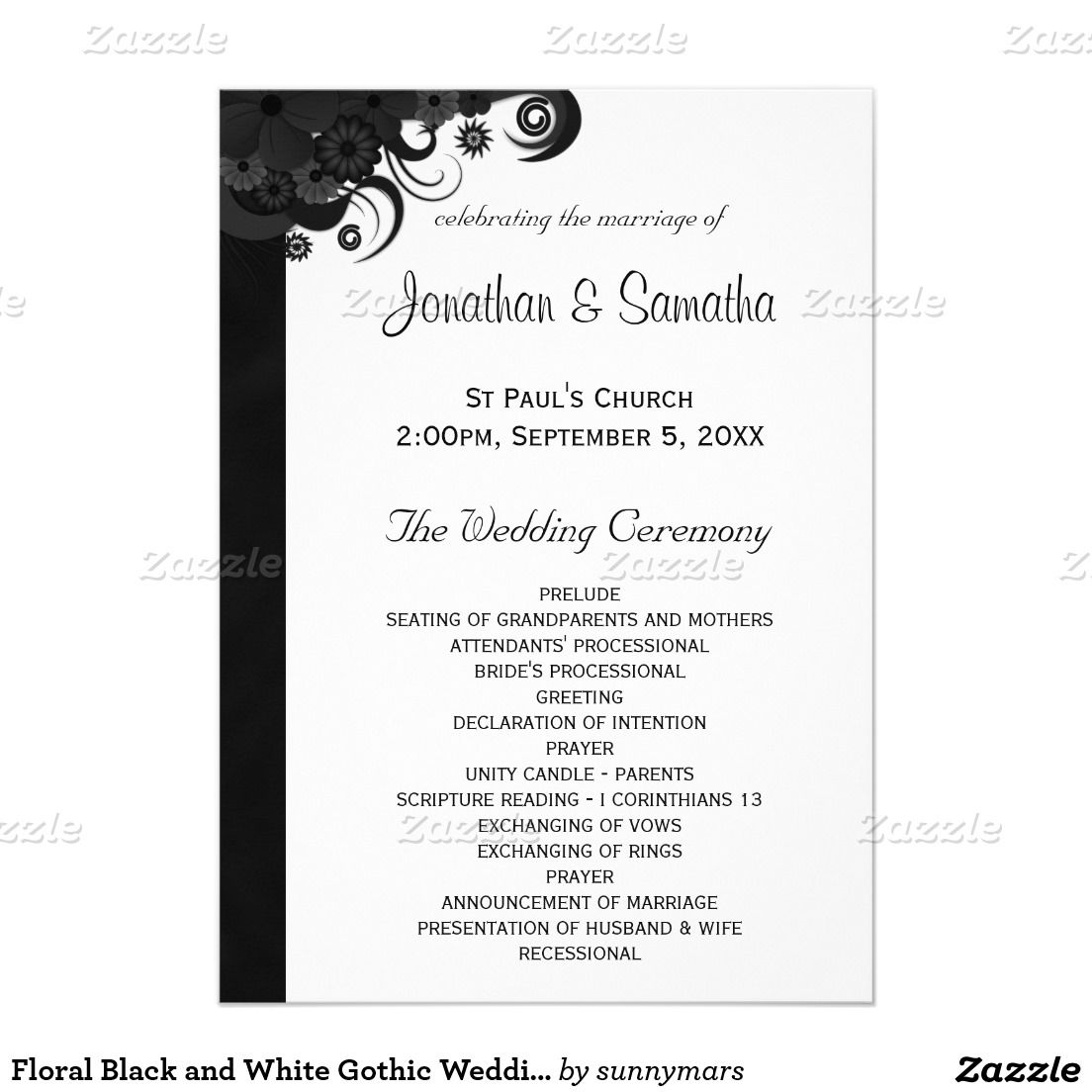 Floral Black and White Gothic Wedding Programs Gothic wedding