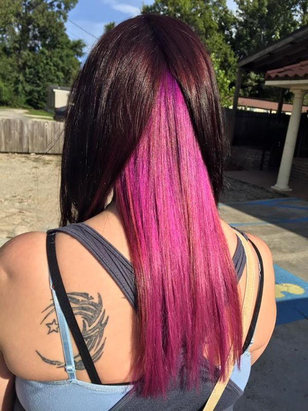 chocolate brown hair with pink
