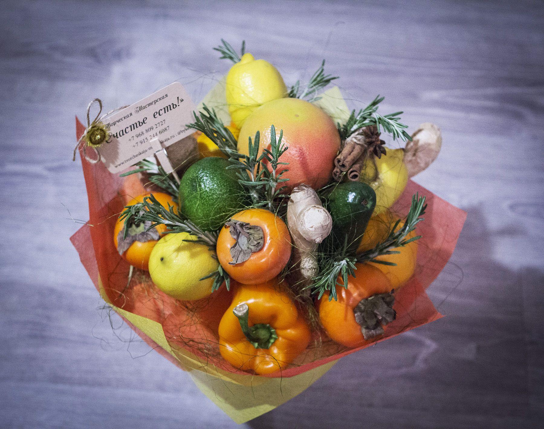 Букеты из лимонов и апельсинов своими руками