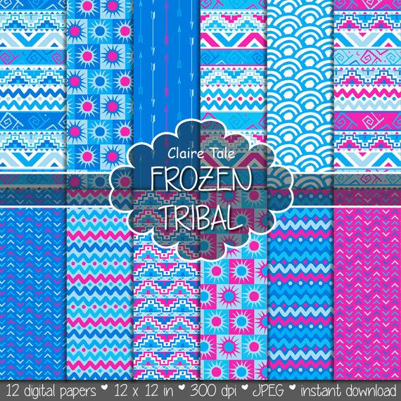 "Tribal digital paper: ""FROZEN TRIBAL"" with tribal patterns and tribal backgrounds, arrows, feathers, chevrons in frozen blue and pink"