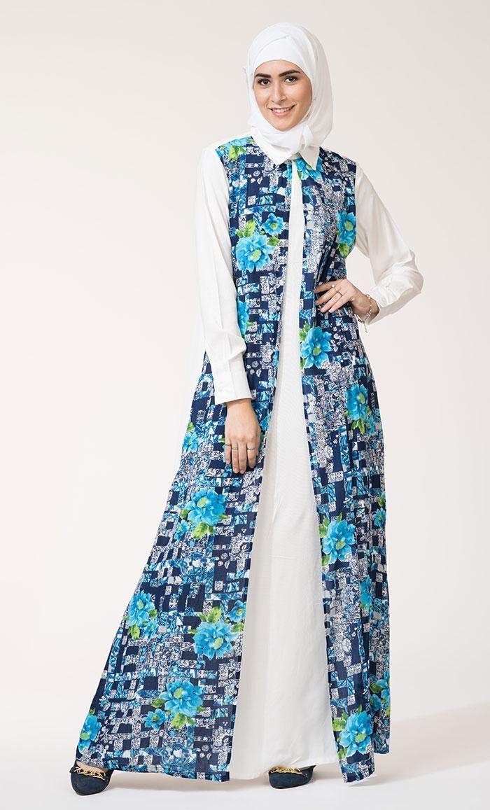 Kilam - #EastEssence Hibiscus Print Front Open Abaya - AdoreWe.com ...