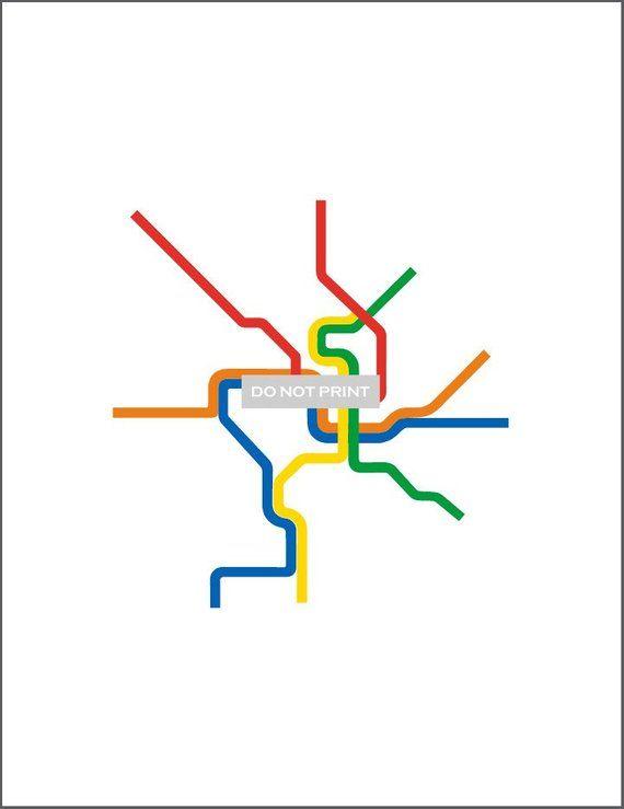 Mta Subway Map Washington Dc.Washington D C Metro Subway Map Line Art 16 X 20 Print