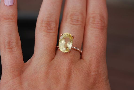9 76ct Blake Lively Ring Yellow Sapphire Engagement Ring Oval Etsy Yellow Sapphire Ring Engagement Oval Sapphire Engagement Ring Blake Lively Ring