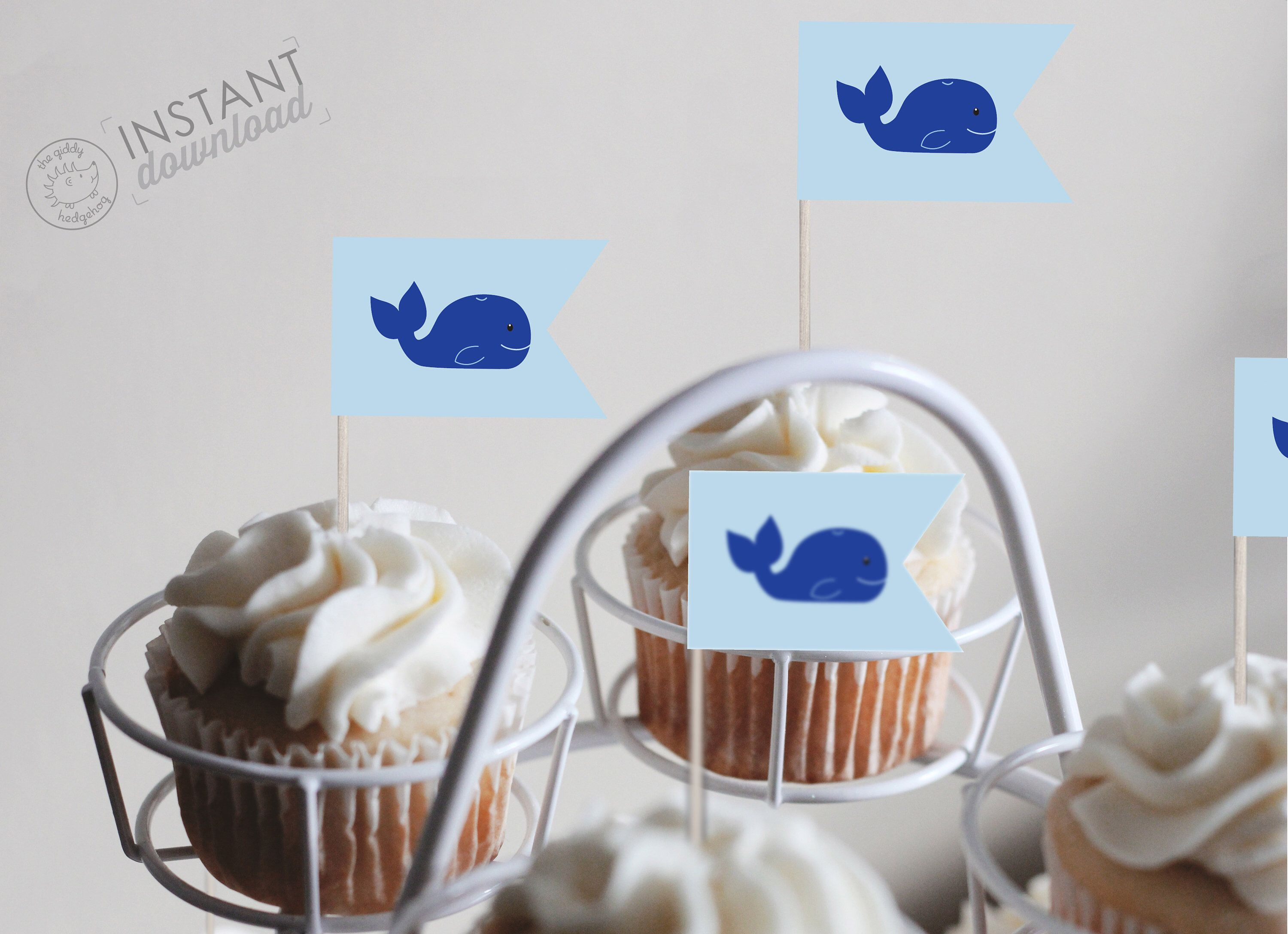 Diy Printable Whale Cupcake Topper Decorations Cake Pop Sticks Under